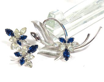 Star Art Sterling Silver Brooch and Earring Set Vintage 1950s Sapphire and Crystal Rhinstone Set - FREE Domestic Shipping