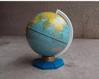 SALE SALE SALE Vintage World Globe Metal Nine Inch Blue Base 1960s J Chein Home Decor Schooling Office Business Industrial Travel
