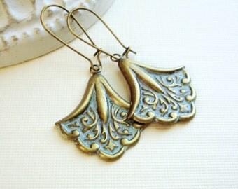 Long Brass Earrings with Turquoise Patina Drop Earrings, Bell Shaped Drop Earrings, Vintage Style Jewelry, Long Dangle Earrings