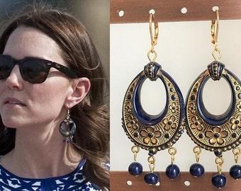 Kate Middleton Blue Gold Flower Chandelier Bead Earrings- e770
