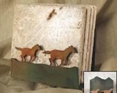 Natural Travertine Coasters w/ Organic Patina Holder - Horses / Mustangs