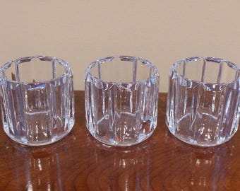 Lead Glass Votive Candle Holders - Set of 3