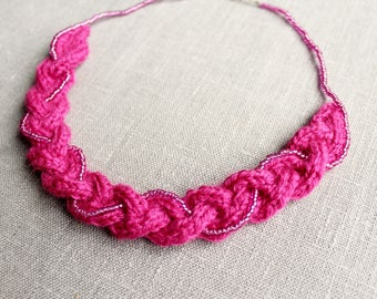 Pink Yarn Braid with Bead String Necklace