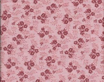 "1/2 Yard 100% Mauve Floral Print Cotton Fabric 44"" Wide"