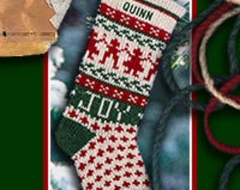Festive Scandinavian JOY/Green Knitted Stockings with Personalized Names