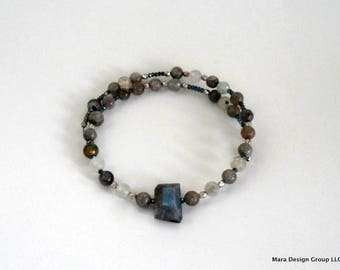 choker, beaded, modern,wrap style labradorite necklace