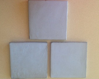 Van Briggle Handmade Art Tiles -- Set of Three in Blue, Would be great for Fireplace Design, Coordinates with Blue Willows