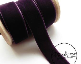 22mm Berisfords Velvet Ribbon for Millinery, Hat Trimming & Crafts 1 metre (1.09 yards) - Plum