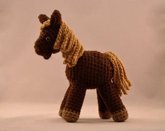 Handmade Crochet Horse Pony Brown Pony with Golden Mane and Tail
