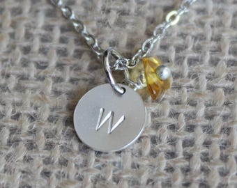 Tiny Personalized Pendant with Birthstone Chip Bead | Custom Letter Necklace | Hand Stamped Jewelry
