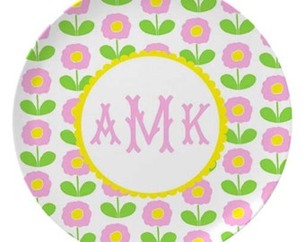 Personalized Melamine Plate for Kids / Pink Flowers
