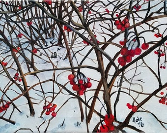 Winter Landscape Original Oil Painting of Snow and Berries - 12x9in