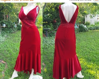 35% OFF 80s Prom Dress in Red Velour by Tadhasi/ Vintage Dress/ Red Dress/ 80s Dress/ 80s Party Dress Size 10-12