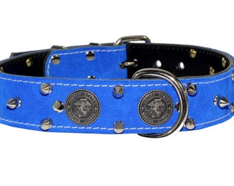 "United States Marine Corps Dog Collar - 1-1/2""  Leather Dog Collar - Blue Suede Usmc Leather Dog Collar"