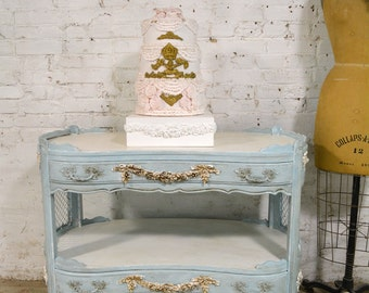 Painted Cottage Chic Shabby White Romantic French Buffet / Server SV629