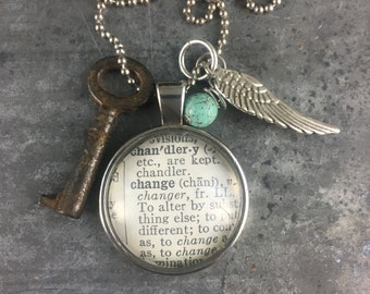 One Word Pendant with Vintage Key - Change