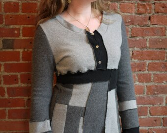 100% cashmere pullover tunic-black & grey-patchwork sweater-recycled sweater-long sweater-cozy soft sweater art-eco clothing-size medium