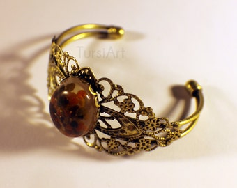 Real Bee Pollen in resin bracelet brass filigree Real Bee bangle,  Honey Bee Ambrosia, Bee Bread jewelry by TursiArt