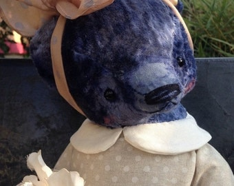 SPRING IS COMING 18 inch Artist Handmade Plush Teddy Bear Girl with a pearl earring by Sasha Pokrass