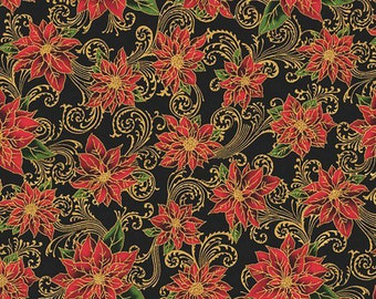 RJR Holiday Accents Black Poinsettia With Metallic Fabric by the yard 2711J-2
