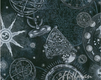 Hoffman - Star Gazing - Celestial w/ Metallic Silver - Black - Fabric by the Yard P7563-4S