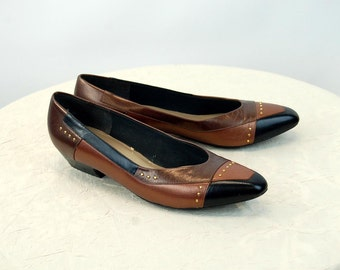 1980s Selby shoes metallic studded low heel slip on flats pumps patchwork black copper bronze Size 8.5