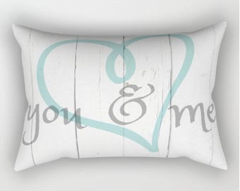 Rectangular Pillow, Throw Pillow, You and Me, Romantic Pillow, Shabby and Chic, Bed Decor, Cottage Home, White Pillow, Farmhouse Home Decor