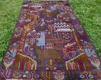 "Hunting Carpet Rug  Deer 6 ft 6"" x 4 ft . Woven Kilim/Tapis. 185 x 122 cm. Traditional."