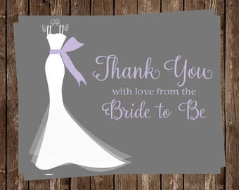 Bridal Shower Shower Thank You Cards, Purple, Gray, Dress, Set of 24 Folding Notes, FREE Shipping, ELGGP, Elegant Gown Gray with Purple