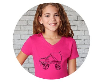 Girls Roller Skate Shirt, Girls Fitted Vneck Shirt, Roller Derby Tee, Junior Roller Derby, Speed Skater, Roller Skating, Roller Skate Party