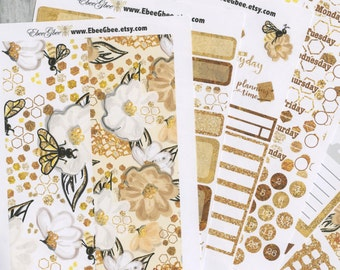 A LA CART Golden Bee Weekly Planner Sticker Sheets