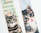Cat Bookmarks - Set Of 6 - Cats And Flowers - Cottage Chic Cats - Tabby N Tiger - Calico Cat - Book Accessories - Book Gift - Cat Lover Gift