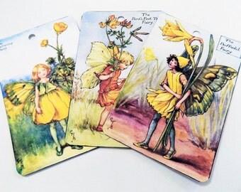 Yellow Fairy Tags - Variety Set 5 - Vintage Fairies - Spring Fairy Tags - Garden Fairy Tags - Edwardian Fairies - Nature Fairies