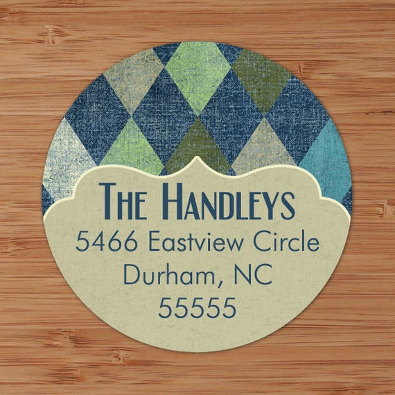 Blue Argyle - Custom Personalized Address Labels or Stickers