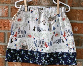 Welcome Party Nature Girl's Skirt Size 3T in Off White and Navy Blue Ready to Ship