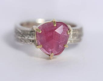 Textured band inrecycled silver with 9ct gold bezel and claws and a rose cut ruby OAK ring.