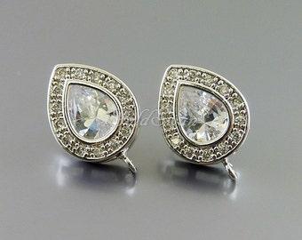 2 pcs / 1 pair silver teardrop CZ teardrop stud earrings, Cubic Zirconia bridal earrings, wedding jewelry E901-BR (earrings)