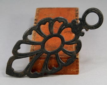 Vintage Wilton Cast Iron Trivet - Stylized Floral Teardrop Shaped