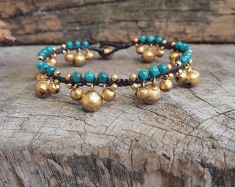 Blue Sea Agate Jingling Brass Anklet