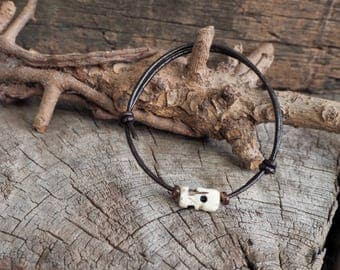 Bone Skull Bead Adjustable Leather Bracelet, Simple Leather Bracelet, Unisex Bracelet