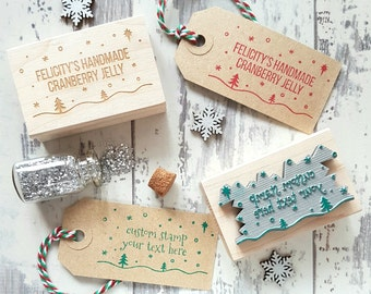 Personalised Christmas Rubber Stamp  - Personalized Snowy Scene Stamp - Business Rubber Stamp - Custom Stamp Small Business - Supplies