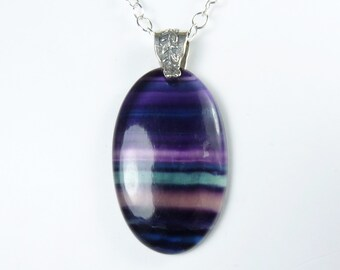 LARGE Fluorite Necklace, Large Translucent Fluorite Pendant, Purple, Violet, Teal, and Green Stripes, LONG Luxurious Sterling Silver Chain
