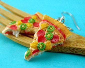 Pizza Earrings // Food Jewelry MADE TO ORDER // Pepperoni, Pineapple and Jalapeño Pizza Earrings // Food Earrings