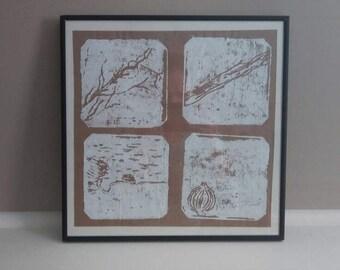 Original framed print of 4 natural beach items