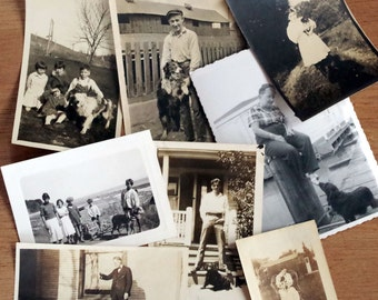 Antique Photographs - People and Their Pets - Snapshot Photos - Antique Black & White Photography - mans best friend