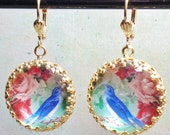 Blue Bird and pink roses art print cabochon image bead charm earrings pamelia designs Sacred Jewelry