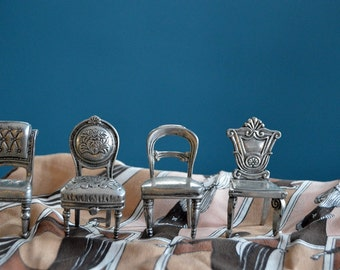 Vintage Set of 4 Miniature Pewter Chairs / Place Card Holders
