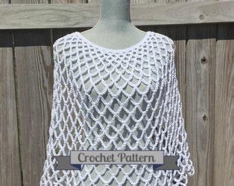 Crochet Pattern, Summer Poncho Pattern, Crochet Poncho Pattern