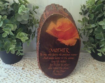 vintage MOTHER Tree Slice with Bark, the perfect Mother's Day or Birthday gift. Rustic mid century floral motif. Yellow Rose of Texas.