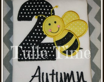 Bumble Bee bug 1st 2nd 3rd 4th 5th number birthday shirt onesie size 12m 18m 24m 3t 4t 5t